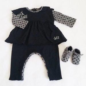 Combinaison + chaussons gris noir bébé fille 6 MOIS IKKS