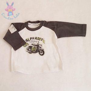 T-shirt gris blanc bébé garçon 6 MOIS