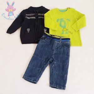 Ensemble 3 pièces Pantalon + Gilet + T-shirt bébé garçon 6 MOIS ORCHESTRA