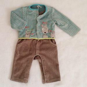 Combinaison velours taupe et rayé bleu bébé garçon 6 MOIS ORCHESTRA
