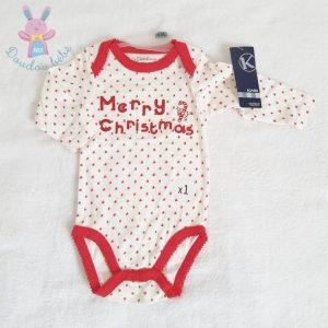 Body rouge et blanc de Noël «Merry christmas» bébé 9 MOIS