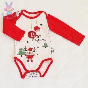 Body rouge et blanc fantaisie Noël bébé 9 MOIS