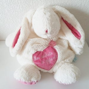 Doudou Lapin «câlins» range cachette pyjama rose blanc BABY NAT