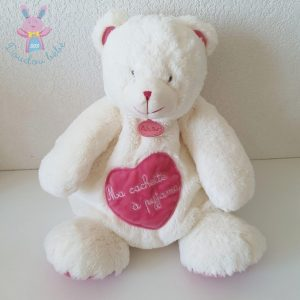 Doudou Ours «câlins» range cachette pyjama rose blanc BABY NAT