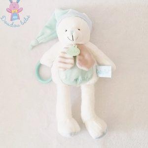 Doudou Ours blanc bleu Layette jouet BABY NAT