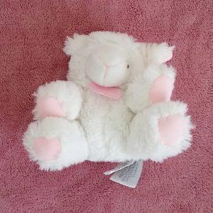Doudou Mouton Agneau hochet blanc rose DOUDOU ET COMPAGNIE
