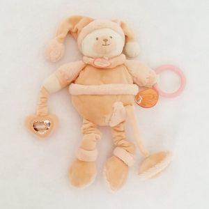 Doudou Ours macaron orange jouet d'éveil DOUDOU ET COMPAGNIE