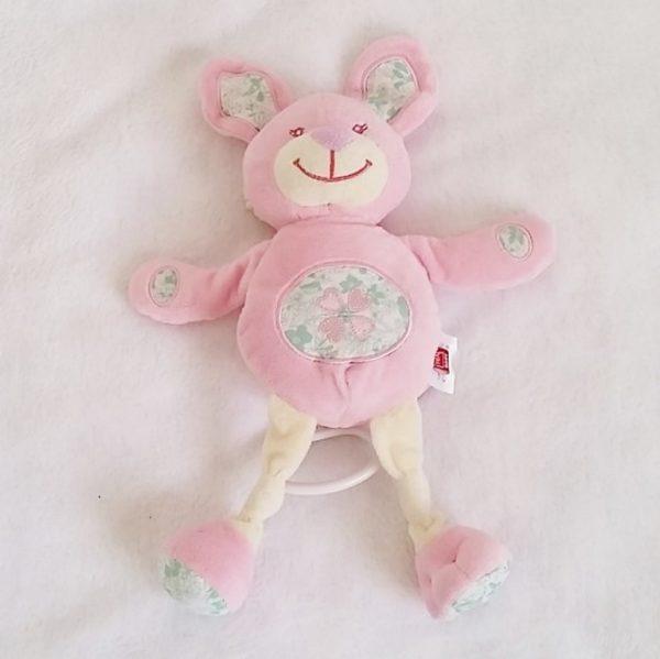 Doudou Lapin musical rose blanc fleurs TEX