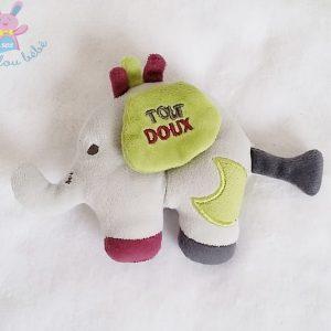 Doudou hochet éléphant Babyfan gris SAUTHON