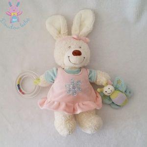 Doudou Lapin rose blanc jouet d'éveil bébé TEX BABY