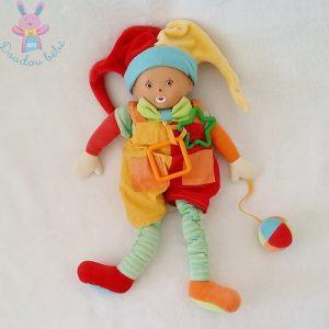 Doudou Poupée Lutin Arlequin coloré jouet éveil bébé COROLLE