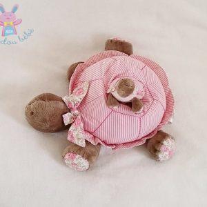 Tortue rayée rose + bébé + poussin jouet éveil bébé grelot JACADI