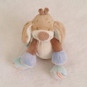 Doudou Chien grelot beige bleu 17 cm NATTOU