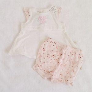 Ensemble rose blanc bébé fille 1 MOIS NOUKIE'S