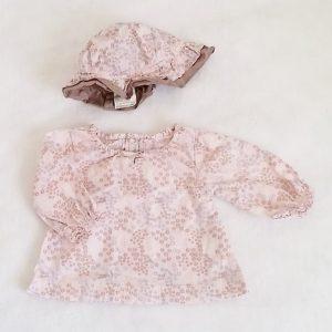 Blouse  fleurs + Chapeau de soleil bébé fille 0 MOIS
