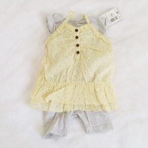 Ensemble 3 pièces jaune et gris bébé fille 1 MOIS