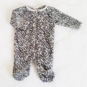 Combinaison polaire gris tigré bébé fille 1 MOIS