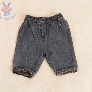 Pantalon jean bleu doublé bébé fille 1 MOIS OBAIBI