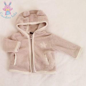 Sweat à capuche crème zippé bébé garçon 1 MOIS
