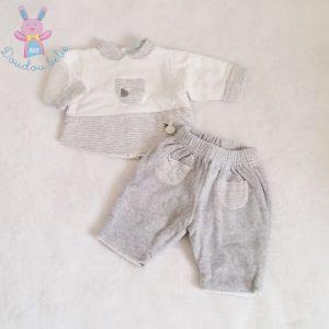 Ensemble gris blanc doublé bébé garçon 0 MOIS
