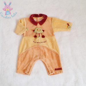 Combinaison velours orange bébé garçon Naissance SUCRE D'ORGE