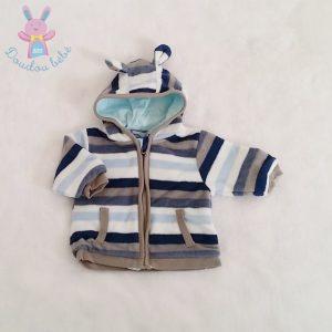 Sweat polaire capuche rayé bleu bébé garçon 0 MOIS