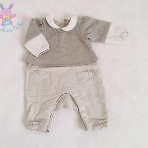 Combinaison grise et blanche bébé fille 1 MOIS ORCHESTRA