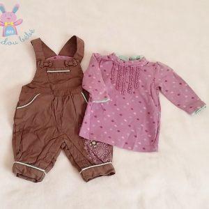 Ensemble salopette marron + T-shirt mauve bébé fille 1 MOIS ORCHESTRA