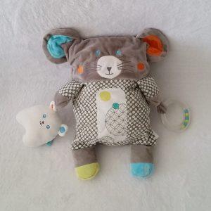 Doudou peluche Souris grise jouet éveil bébé OBAIBI