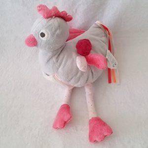 Doudou Oiseau Poule gris rose miroir papier froissé OBAIBI