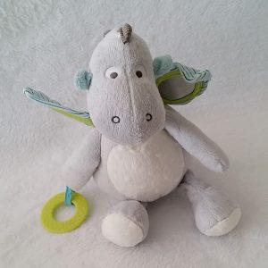Doudou peluche Dragon gris jouet éveil bébé OBAIBI