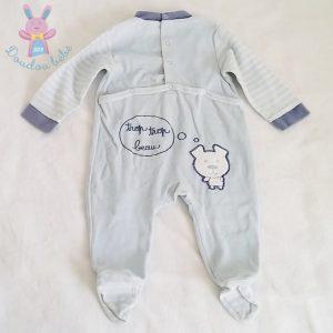 Pyjama velours bleu bébé garçon 12 MOIS