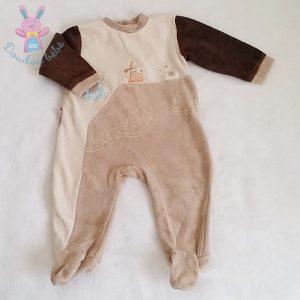 Pyjama velours beige bébé garçon 12 MOIS