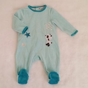 Pyjama velours bleu Panda bébé garçon 12 MOIS PREMAMAN