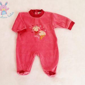 Pyjama velours fuchsia chiens bébé fille 3 MOIS ABSORBA