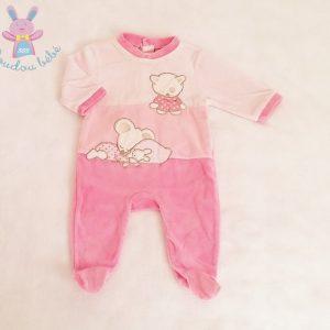 Pyjama velours rose Chat et Petite Souris bébé fille 3 MOIS