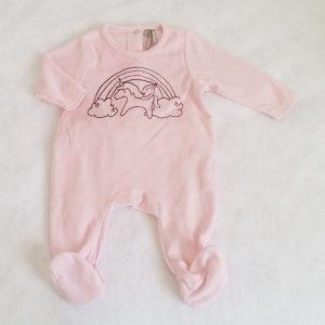 Pyjama velours rose licorne bébé fille 3 MOIS ORCHESTRA