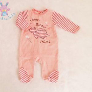 Pyjama velours saumon rayé tortue bébé fille 3 MOIS