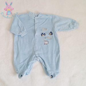 Pyjama velours bleu Pingouins bébé garçon 3 MOIS
