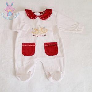 Pyjama velours blanc bordeaux Chat bébé garçon 3 MOIS
