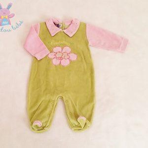 Pyjama velours vert et rose fleurs à pois fille 3 MOIS