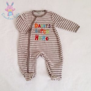Pyjama velours beige rayé bébé garçon 3 MOIS PREMAMAN