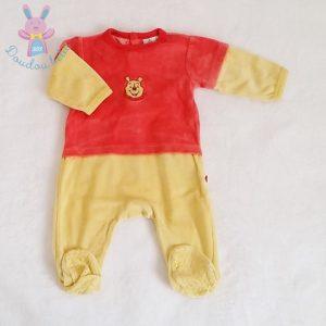 Pyjama velours jaune rouge Winnie bébé garçon 3 MOIS DISNEY