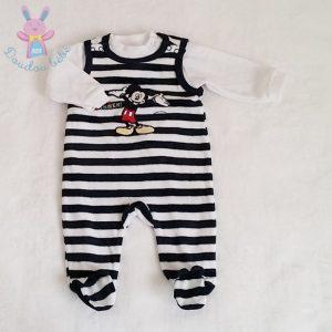 Pyjama velours rayé bleu marine Mickey bébé garçon 3 MOIS DISNEY by C&A