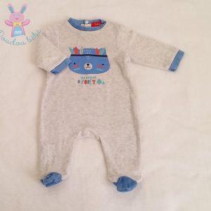 Pyjama gris bleu Indien bébé garçon 3 MOIS