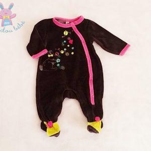 Pyjama velours noir rose bébé fille 3 MOIS ORCHESTRA