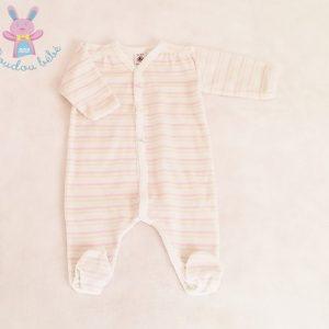 Pyjama velours rayé bébé fille 3 MOIS PETIT BATEAU