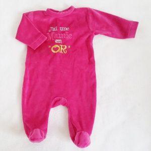 Pyjama velours rose «j'ai une mamie en or» bébé fille 3 MOIS