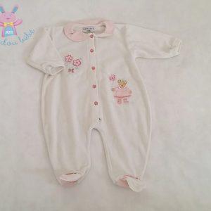 Pyjama velours blanc Petite oursonne bébé fille 6 MOIS NATALYS