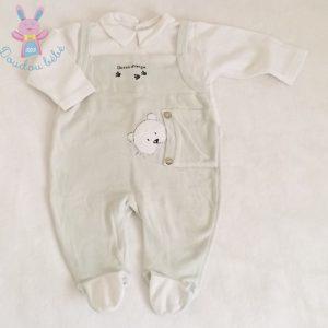 Pyjama velours vert blanc bébé garçon 6 MOIS SUCRE D'ORGE